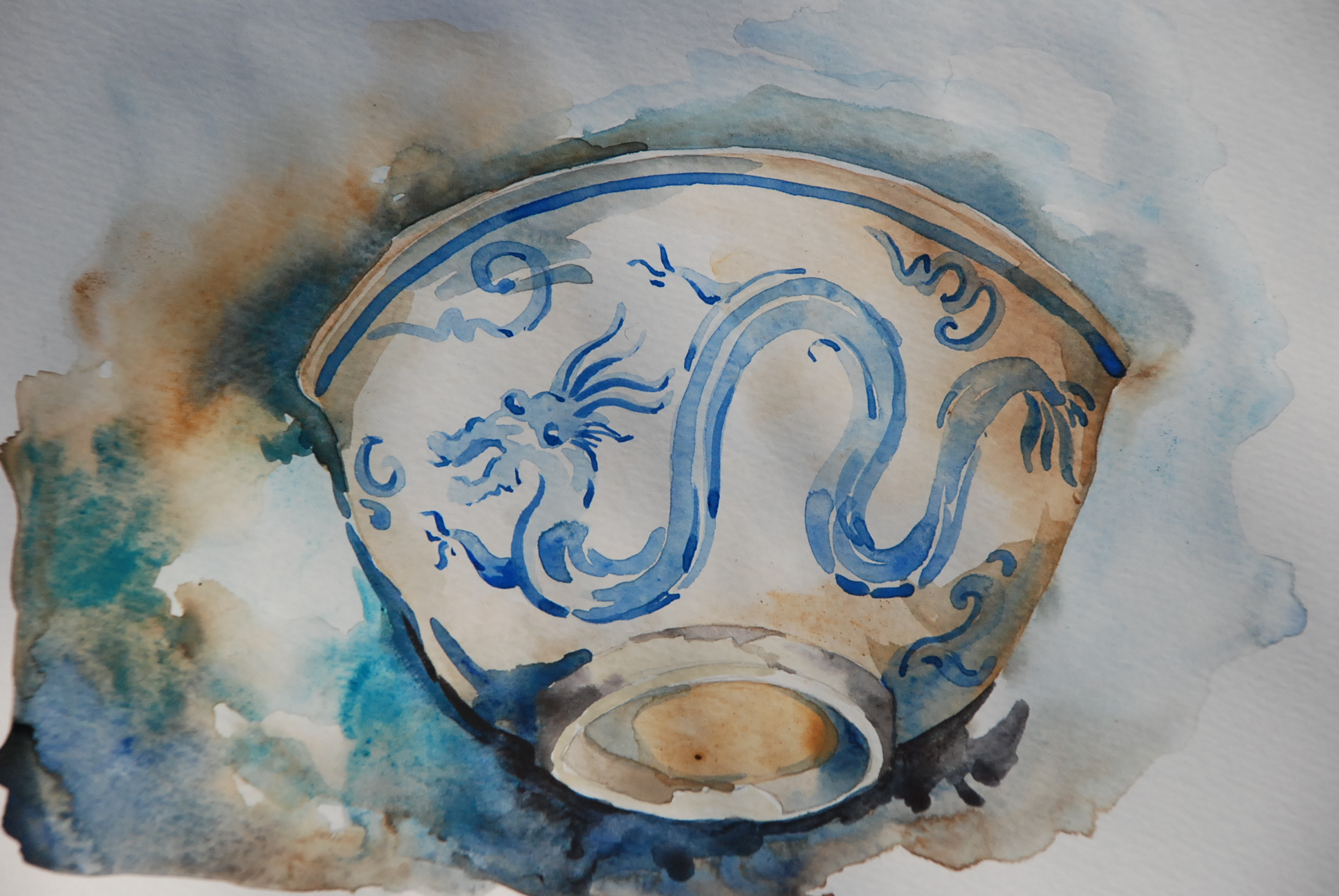 """Dragon Bowl, watercolor, 9 x 6"""""""