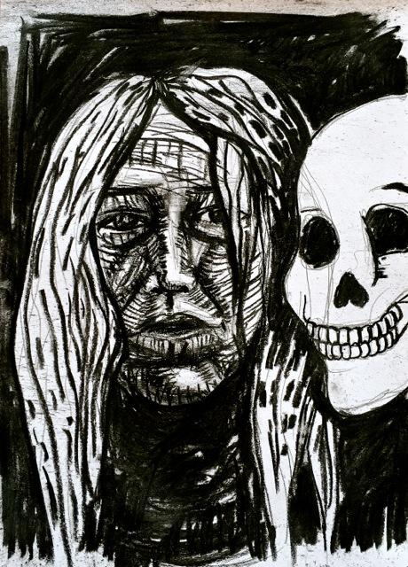 Self Portrait with a Skull, Oaxaca 2017
