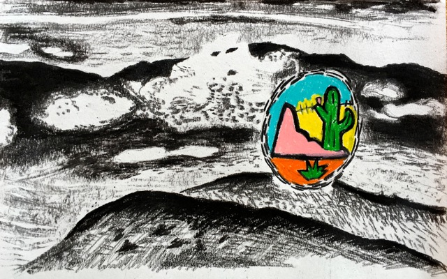 Mountains and Clouds in Oaxaca Valley, with comic Mexican Landscape