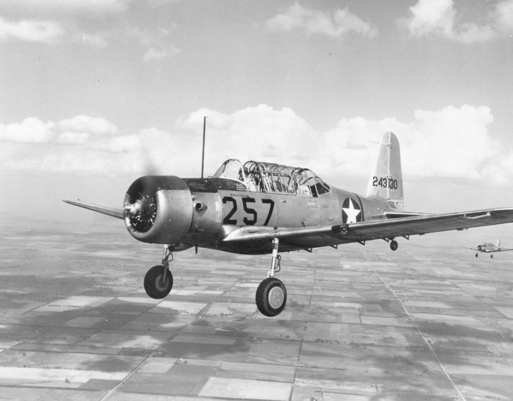 Vultee BT-13 in flight.