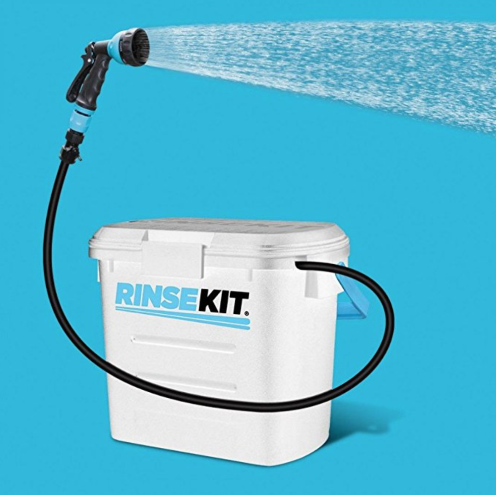 What is a  RinsKit ?  The revolutionary RinseKit is a portable pressurized shower/clean up system that's like having a hose to go! Just finished your kitesurfing session and want to keep your car or flat clean, Rinskit is the solution.  Why should i get a Rinskit?  Because of the RinseKit's pressurization system, the water usage is extremely efficient. It allows you to use only the water that you need to rinse gear, pets and people. Water conservation is a huge issue facing us all, so we are hopeful that the RinseKit will help inspire people to be more water wise.