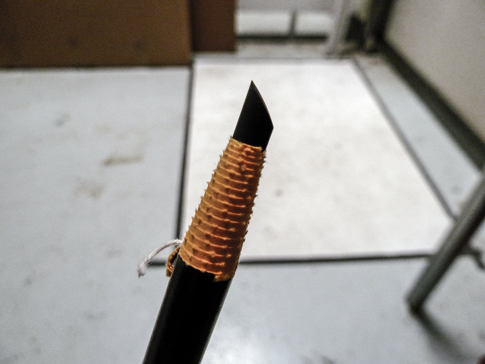 Pencil after several hours of drawing a circle