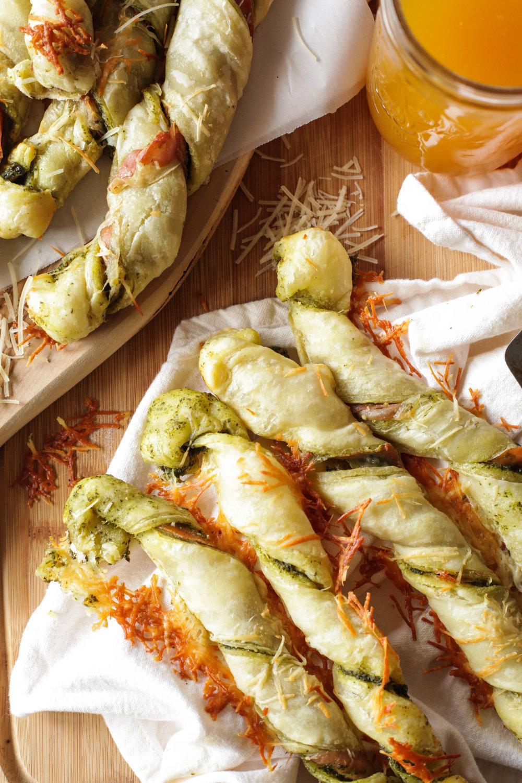 pesto parmesan prosciutto pastry twists   u2014 quinn u0026 39 s place