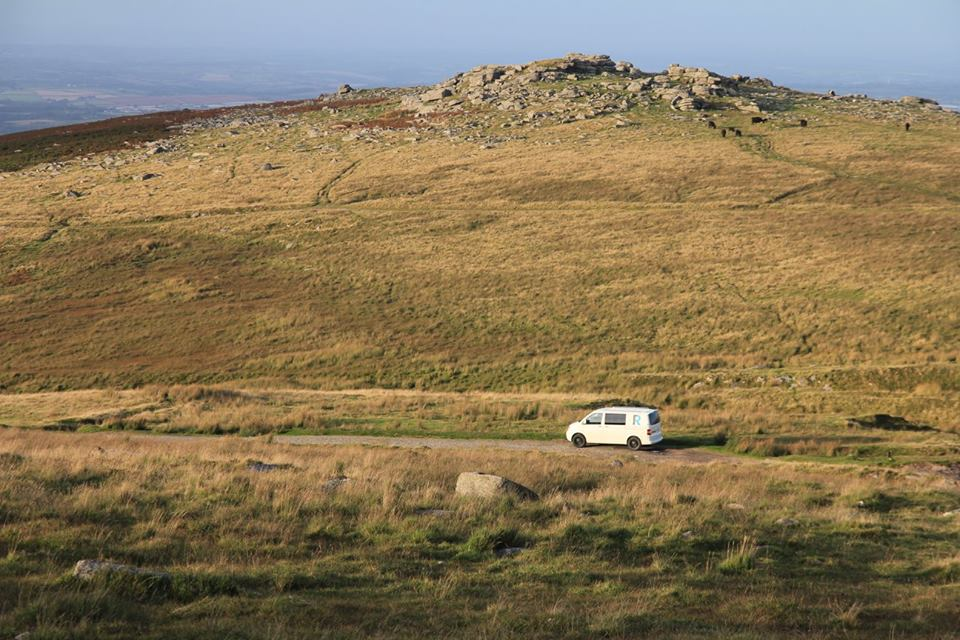 My van dwarfed by the landscape in the good weather as we marked the routes before
