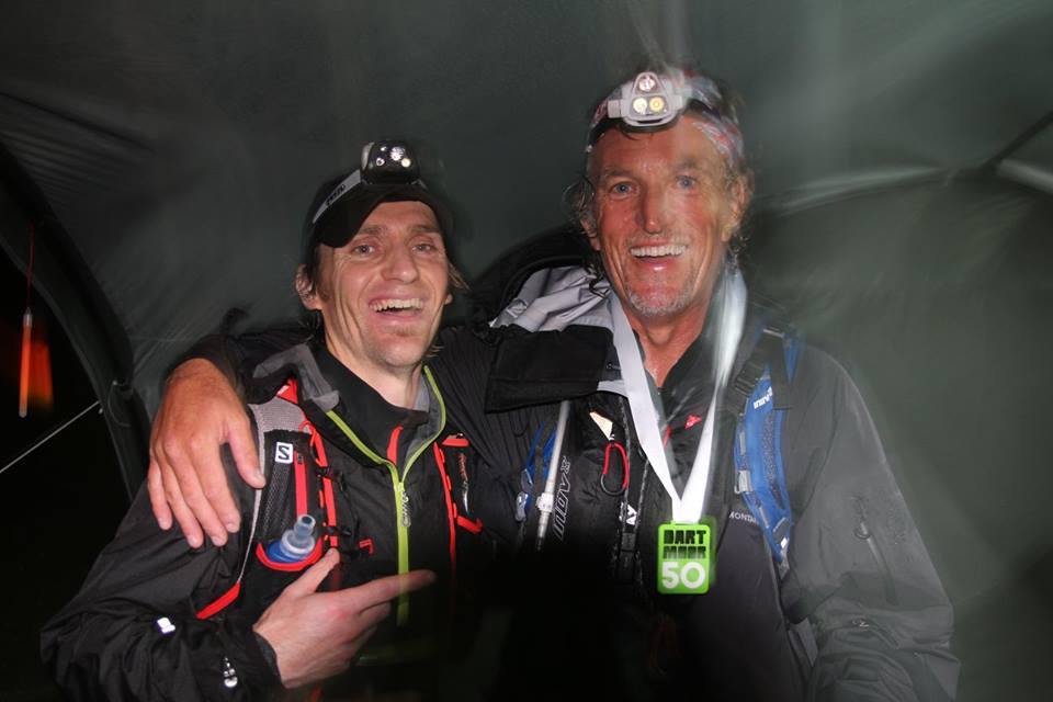 Greg (on left) after his stint on the moor with our last finisher.