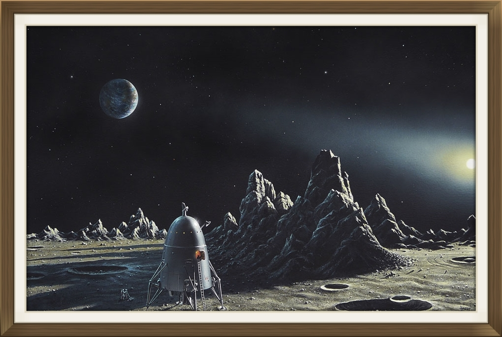 """BIS Retro Rocket"", by David A Hardy, Print limited edition, Space art."
