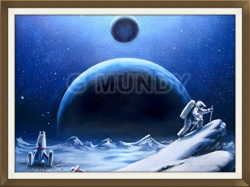 """ Ice Climbers "", by Gavin Mundy, original art work, Space art."