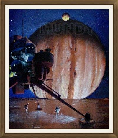 """ Europa Landing "", by Gavin Mundy, original art work, Space art."