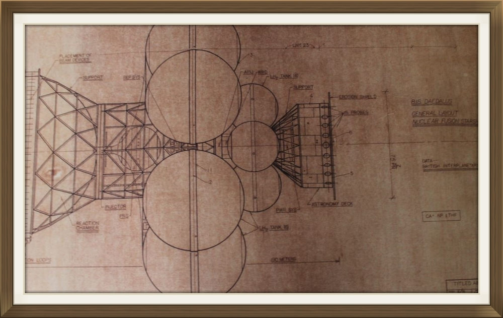 """Project Daedalus"", by Rick Sternbach, original art work, Space art/engineering. Drawn for Carl Sagan and 'Cosmos' TV series. Sepier paper."