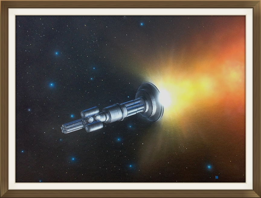 """Project Orion"", by Rick Sternbach, original art work, Space art/engineering. Painted for Carl Sagan and 'Cosmos' TV series."