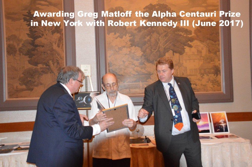 Awarding Greg Matloff the Alpha Centauri prize in New York with Robert Kennedy III (June 2017)
