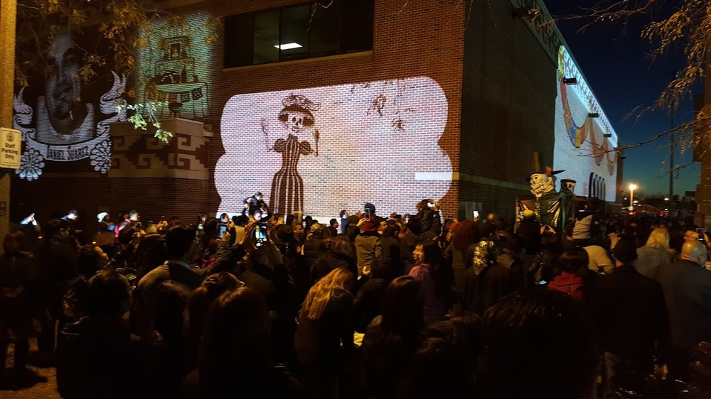 Binary Artists were responsible for the multimedia  components and visuals seen at the Dia De Los Muertos Event at the National Museum of Mexican Art.