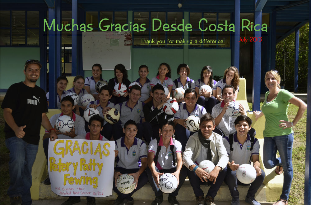Learning Adventure Tours partners with Peters Fewing Soccer Camps and donates soccer balls that we recieve from the kids at the soccer camps to the local community schools in Costa Rica. We are grateful for their generosity. - www.peterfewingsoccercamp.com