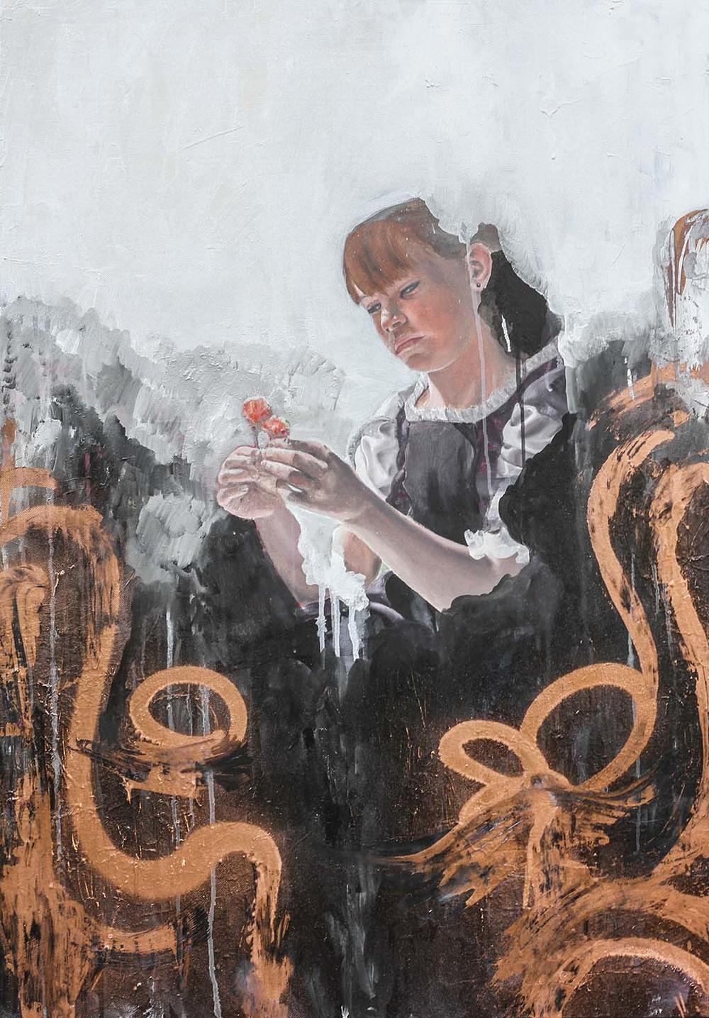 """identity"" 70x100 oil, spraypaint on canvas"