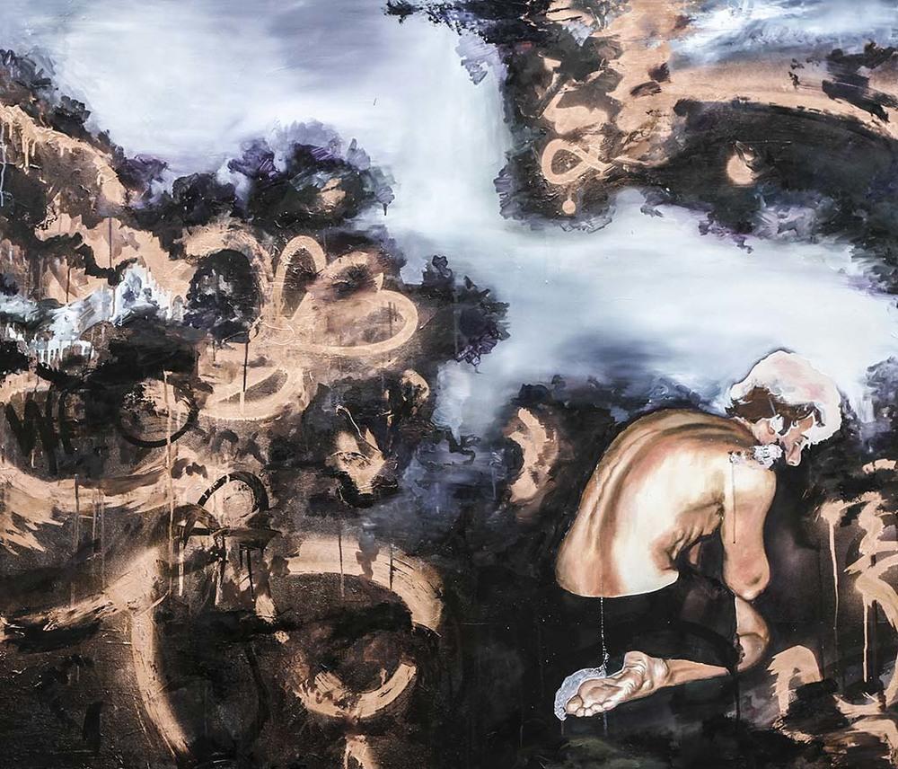 """1992/2"" 140x120 oil,spraypaint on canvas"