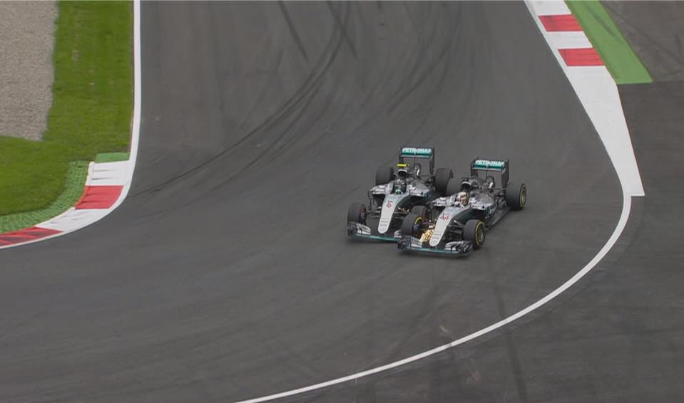 The collision between Rosberg and Hamilton on Lap 71.