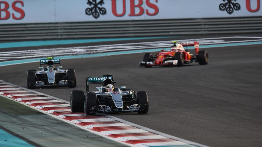 Lewis backing up Nico in the final laps of the Abu Dhabi Grand Prix.