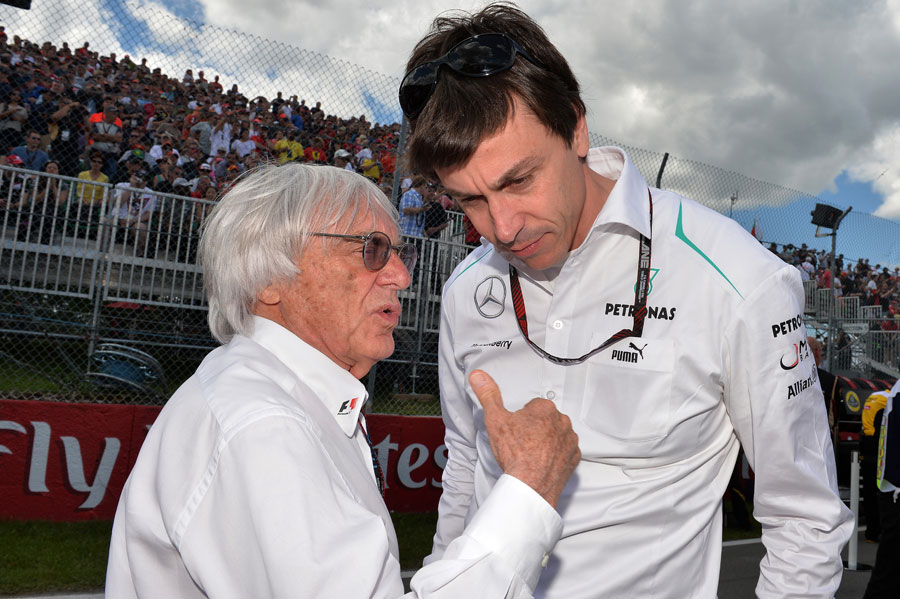 Head of the Formula 1 Group, Bernie Ecclestone chats with Head of Mercedes-Benz Motorsport, Toto Wolff.