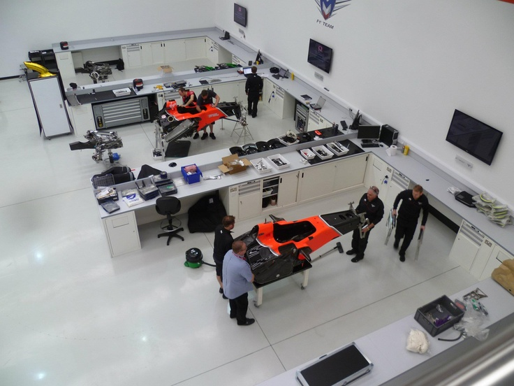 Inside the Marussia factory in England.