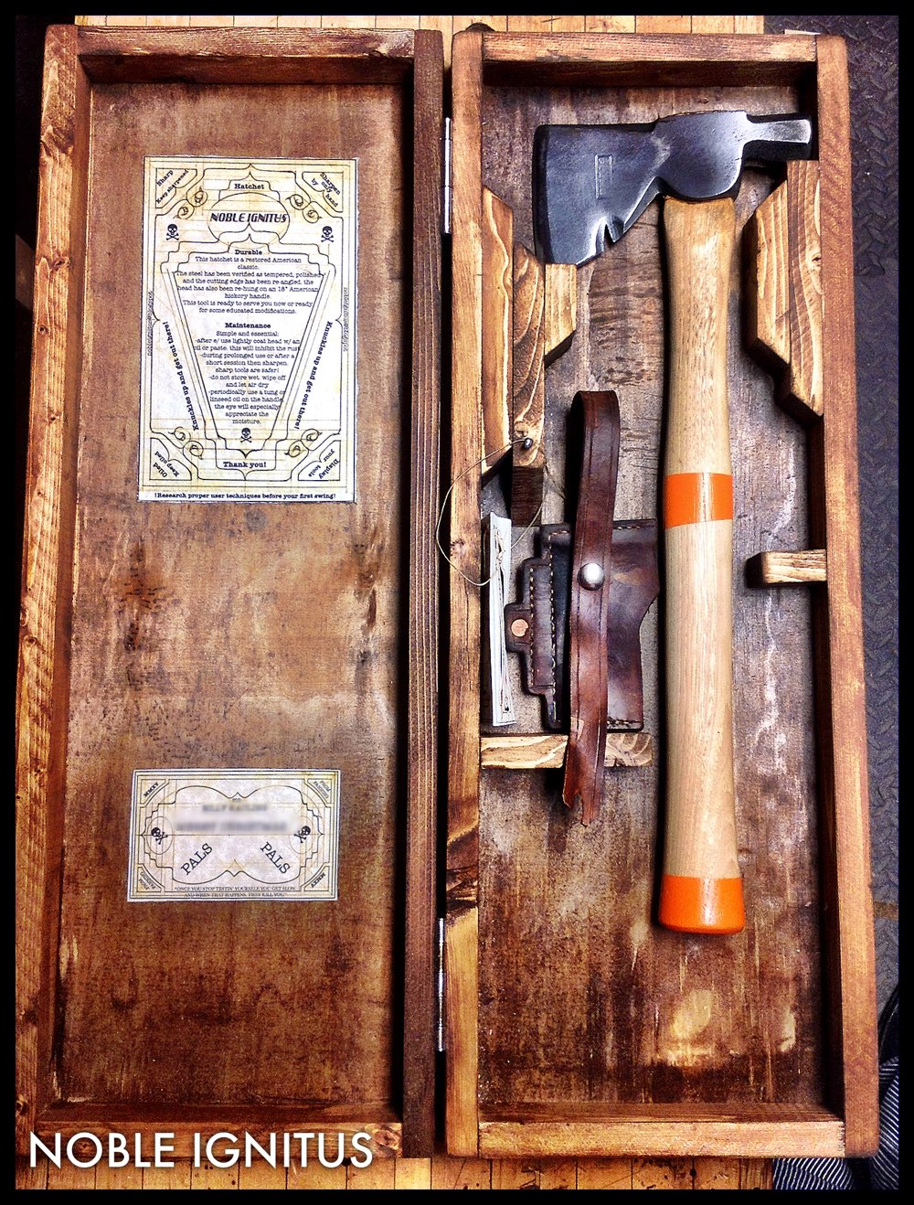 Genuine Plumb carpenter's hatchet with crate and hand sewn full grain leather sheath ready to be commanded by the new owner.