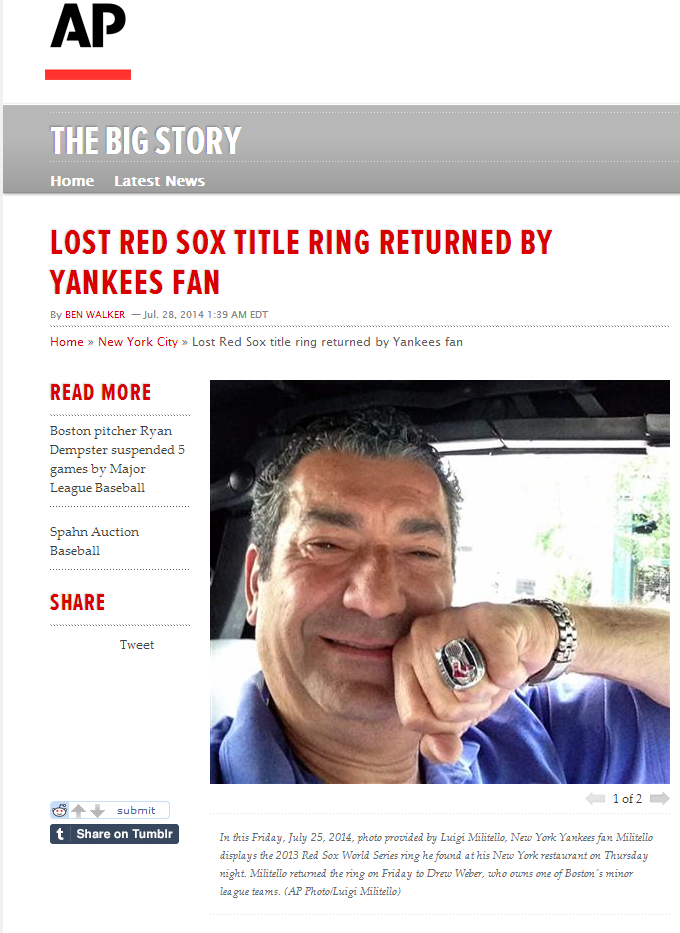 ap big story #lukes #NYC #RedSox #Ring #Boston #YankeesFan