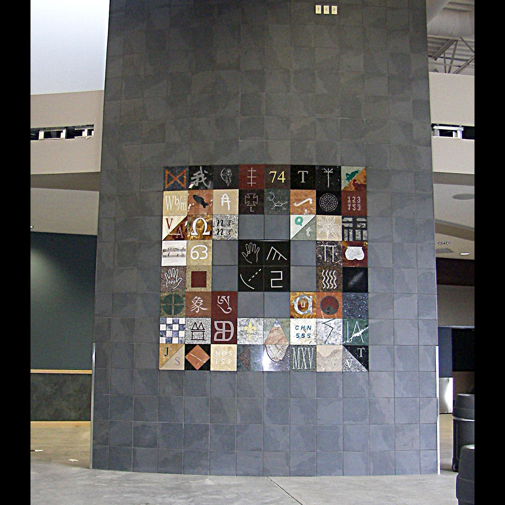 """Encryption Wall"", 2010 marble, granite slate, LED  Thunder Mt. High Juneau"