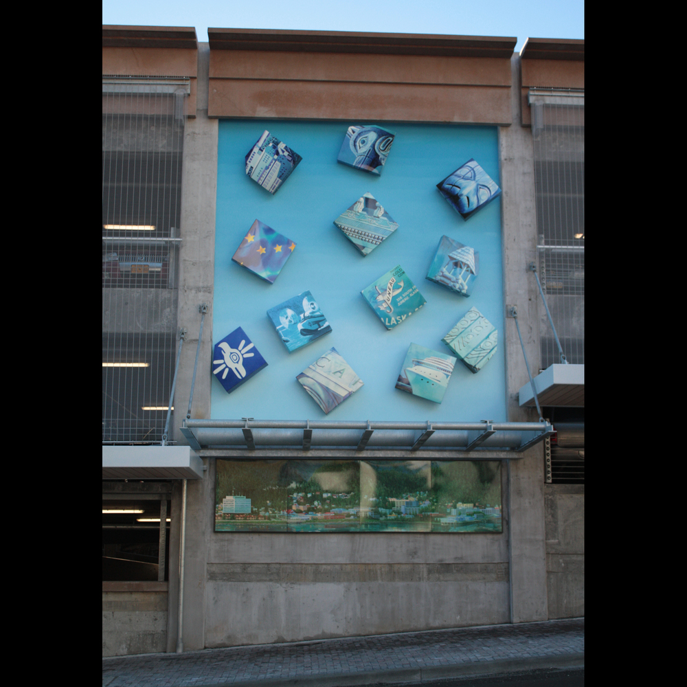 """Precipitation"" Digitally powdercoated aluminum, Kiem paint, fiber optic light. 2010. Juneau Parking Garage"