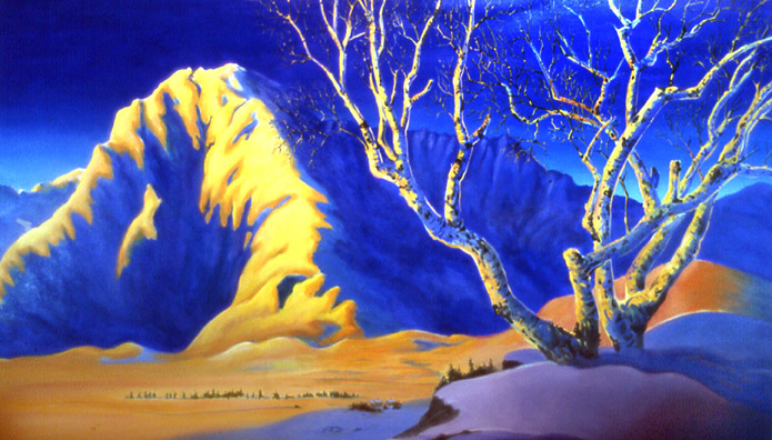"""Fred Machetanz Meets Maxfield Parrish"" 4'x6' oil"