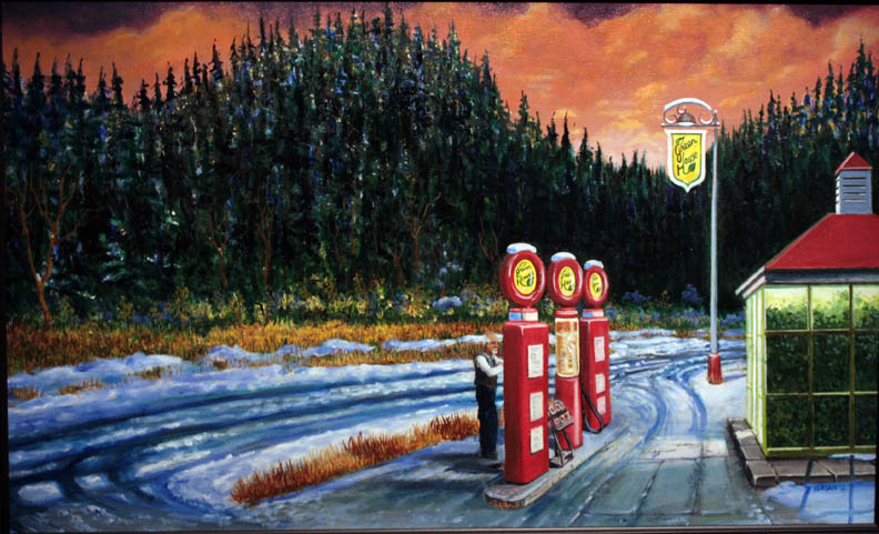 """Greenhouse Gas Station"" 20""x36"" oil"