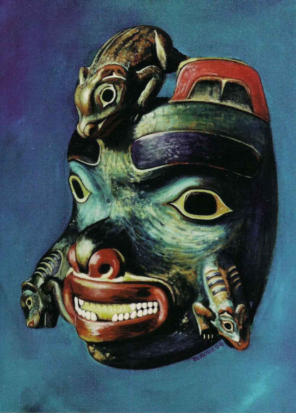 Bear Mask, Tlingit, with land otters