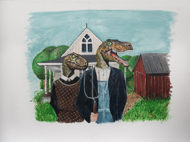 Velociraptor American Gothic Acrylic On Canvas 2015