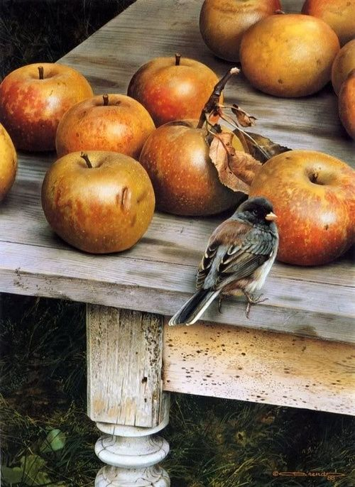 valscrapbook bird with apples