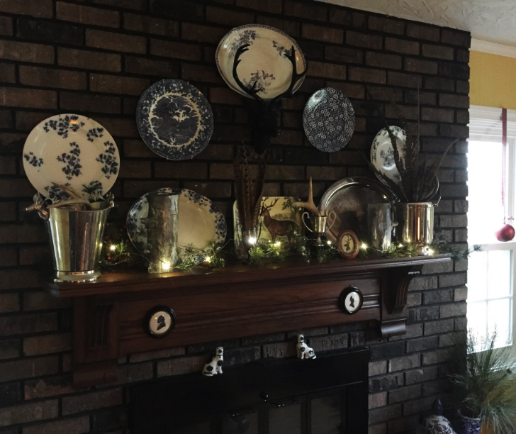 Mom's fireplace mantel decorated for Christmas 2015
