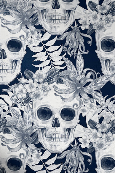 Meridian Abbey Interiors - Hibiscus and Skulls Wallpaper.jpg