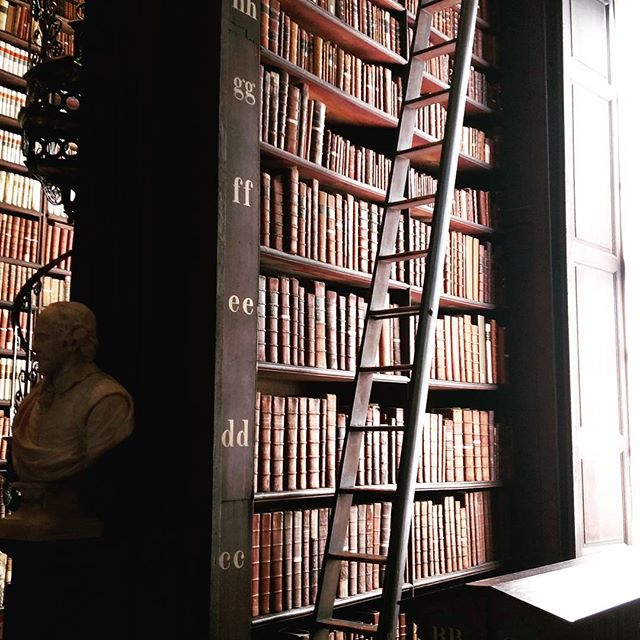 Long Room. Cozy and overwhelming at the same time. Gorgeous architecture! . . . . #trinitycollege #longroomlibrary #ancient #architecture #readabook #greatminds #intricate #handcarved #spiralstaircase #marblebust #librarydesign #libraryladder  #Dublin #Ireland #bucketlist #library #libraryladder #meridianabbey #librarylove