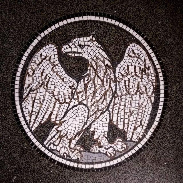 #designinspiration for a #bar / #restaurant - #badass #bachelorpad - #backsplash - #brand - #bathroom #featurewall - #thelistgoeson . #meridianabbey #designisinthedetails #terrazzo #mosaic #floor #eagle #ineedthis #blackandwhite #amsterdam #netherlands #rijksmuseum