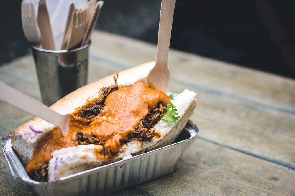 Pulled Pork Sandwich with Cheese Sauce - Boxed Lunch - Sweet Potato Baby