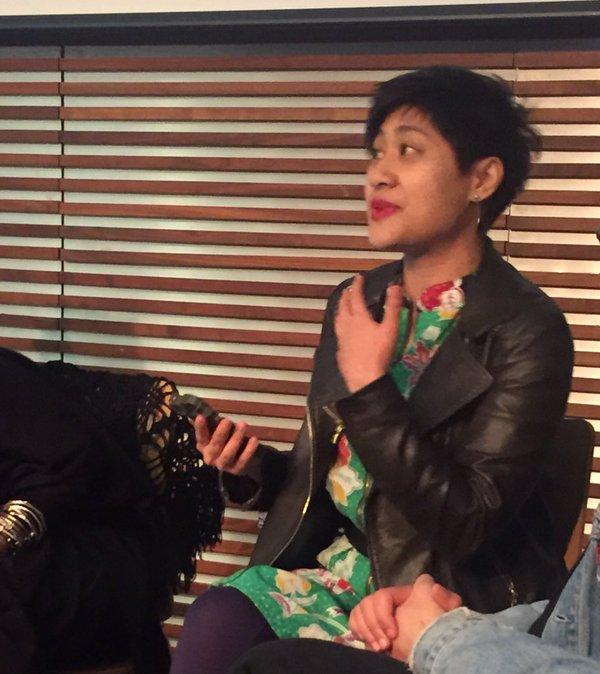 Khairani Barokka speaking at the Free Word Centre.