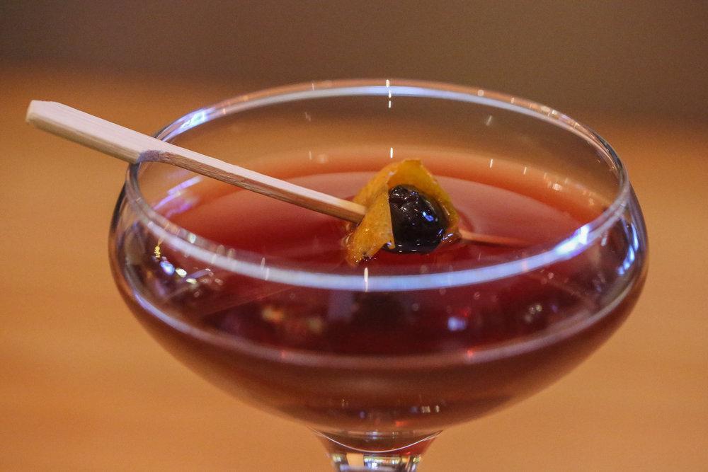 Cherry Herring Manhattan- Bulleit Bourbon, Cherry Heering, and Carpano Antica