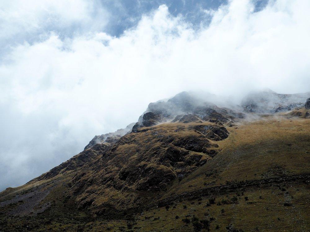 Foggy snowy mountains, Salkantay Trek, Peru 2017