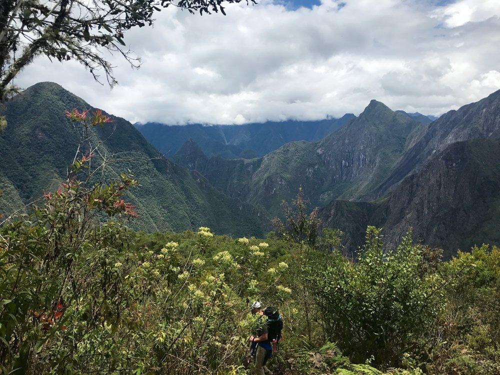 First sight of Machu Picchu, Salkantay Trek, Peru 2017