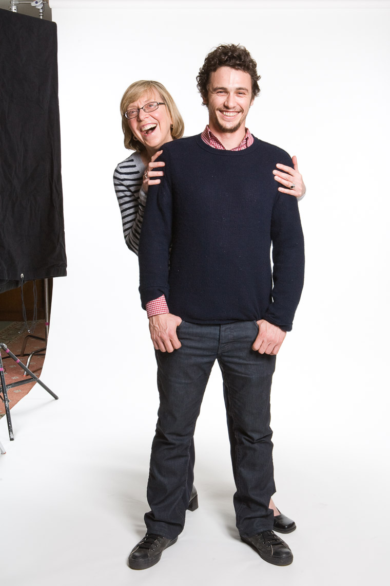 Esther Wojcicki with former student James Franco