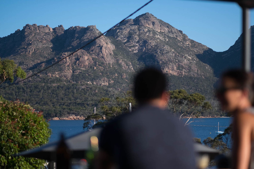 View from the deck at Tombolo Freycinet
