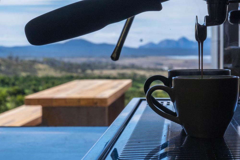 Gazing to Freycinet from the coffee machine