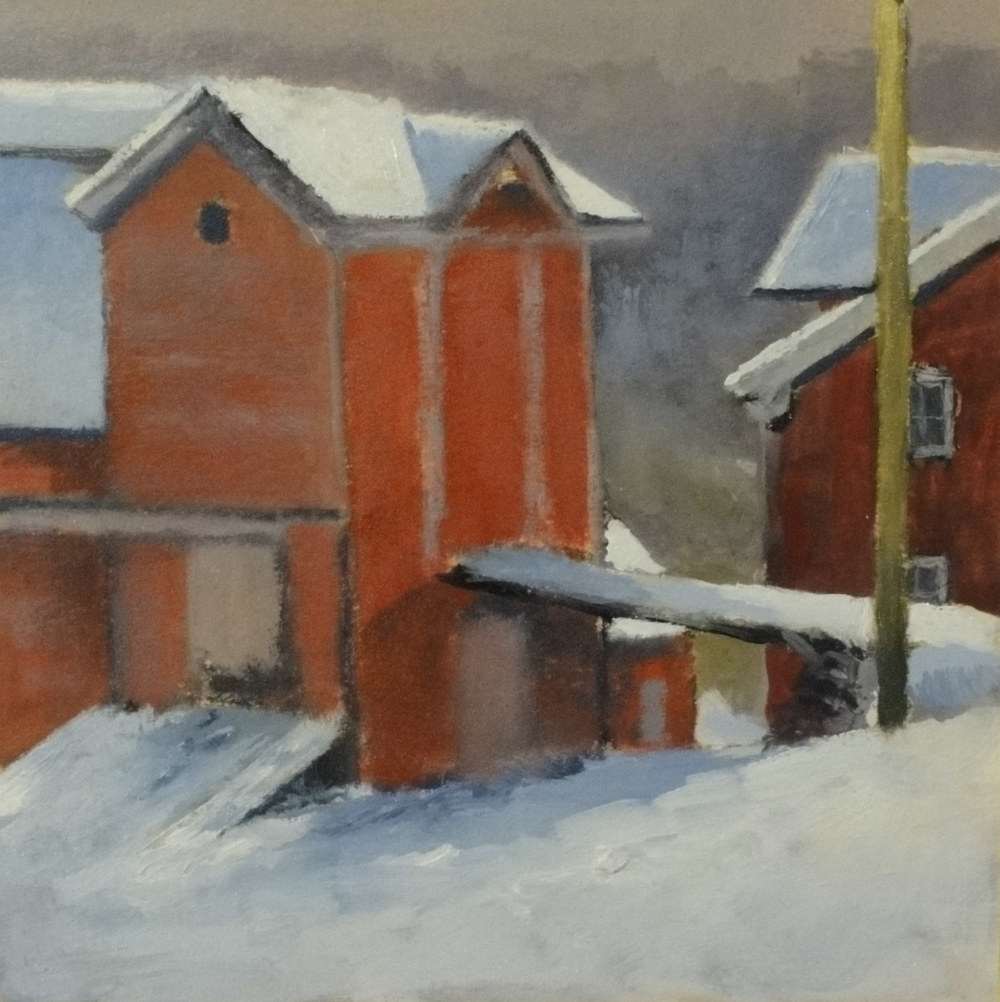 Red Barn in Snow     6 x 6 oil