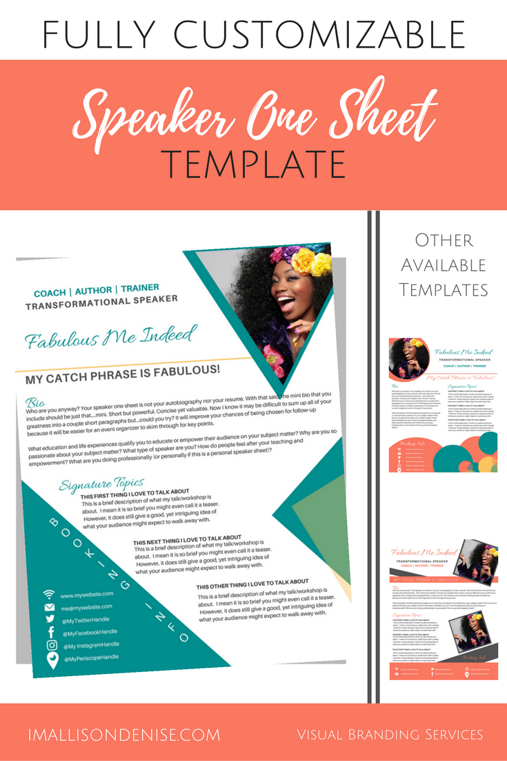 Speaker One Sheet Template Edgy Brand It Beautifully
