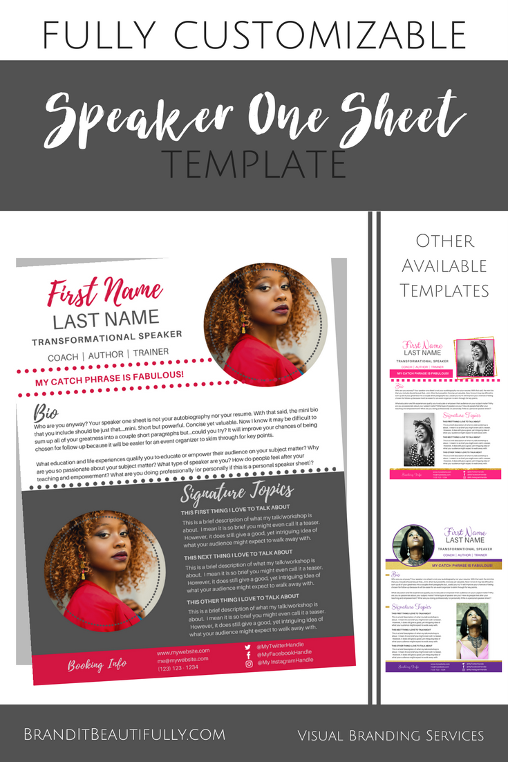 Speaker One Sheet Template Spicyred Brand It Beautifully