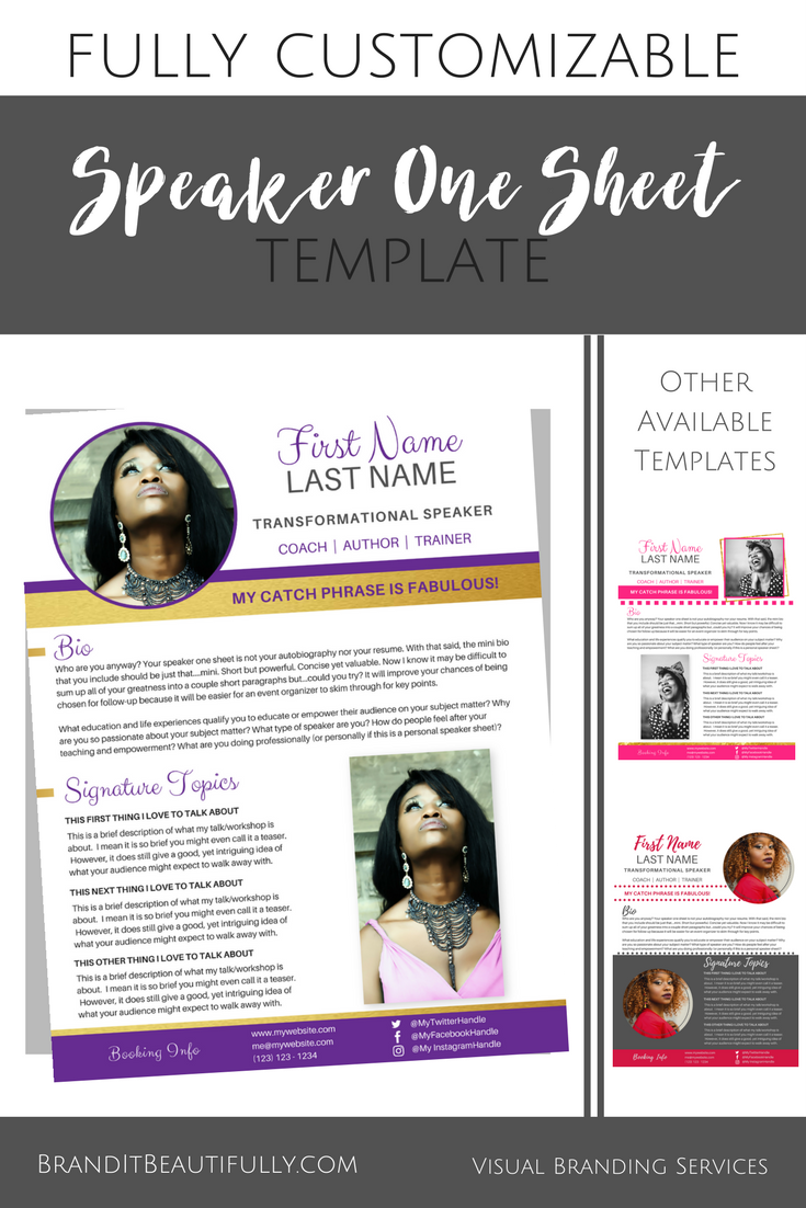 Speaker One Sheet Template Royalty Brand It Beautifully