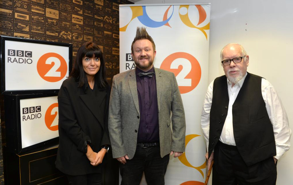 Tommy being crowned BBC Radio 2 Artist in Residence by Claudia Winkleman and Sir Peter Blake