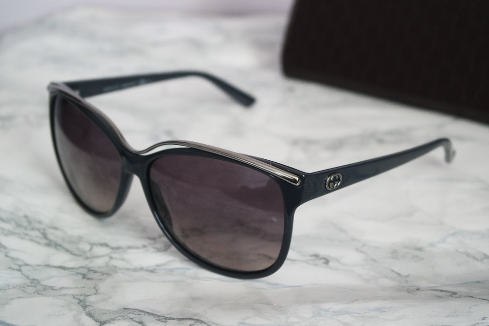 Gucci Navy Cat Eye Metal Wired Frame Sunglasses — Designer Daydream